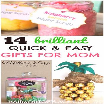 12 easy DIY gifts for mom when you're out of time and money! These are brilliant gift ideas for her